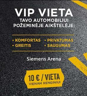 """VIP parkingas """"Avia Solutions Group Arena"""" arenoje"""